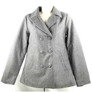 Old Navy Pea Coat Jacket Gray Wool Blend HOLIDAY